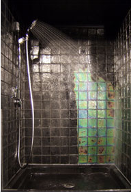 Moving Color has innovated temperature sensitive color changing glass and  has incorporated it into shower tiles that run through a color spectrum  when heat ...